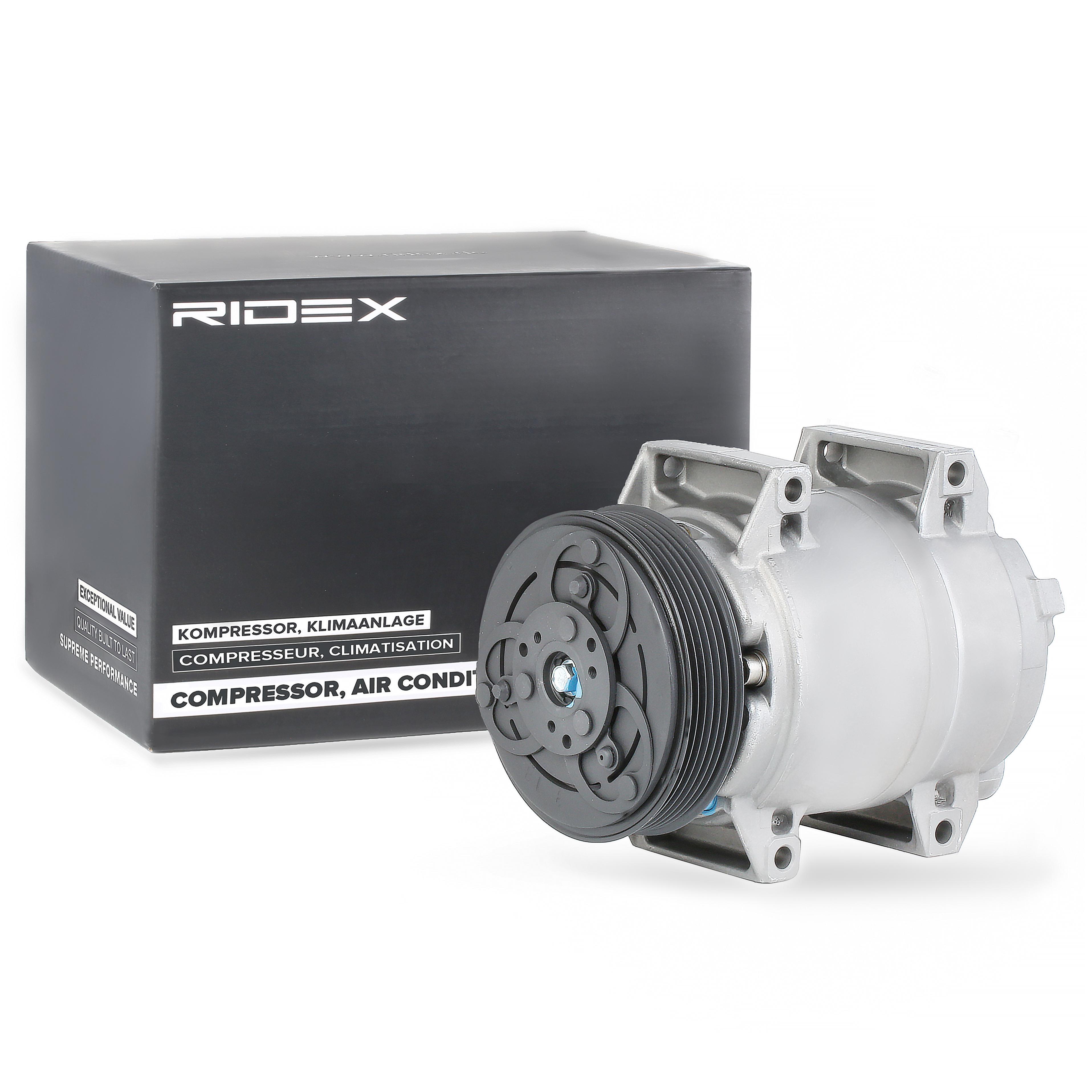 447K0081 RIDEX PAG 100, Kältemittel: R 134a, mit PAG-Kompressoröl Riemenscheiben-Ø: 119mm, Anzahl der Rillen: 6 Klimakompressor 447K0081 günstig kaufen