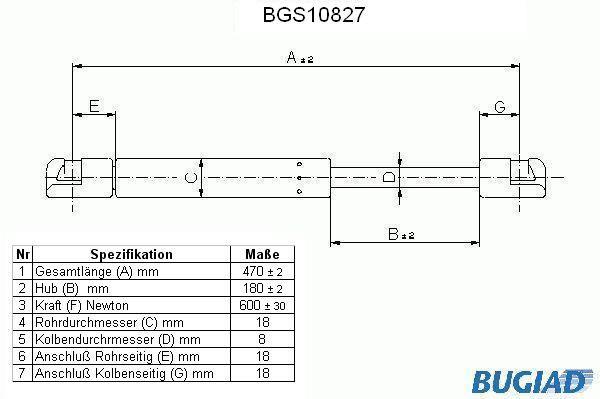 BGS10827 BUGIAD Heckklappendämpfer / Gasfeder BGS10827 günstig kaufen