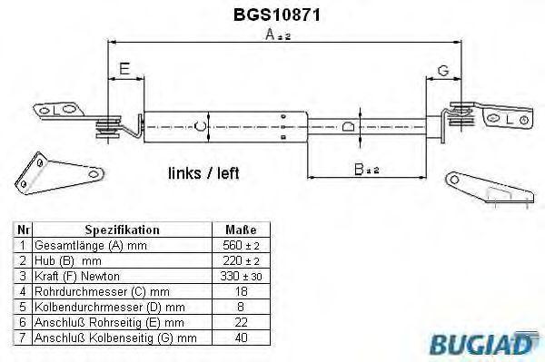 Heckklappendämpfer BUGIAD BGS10871