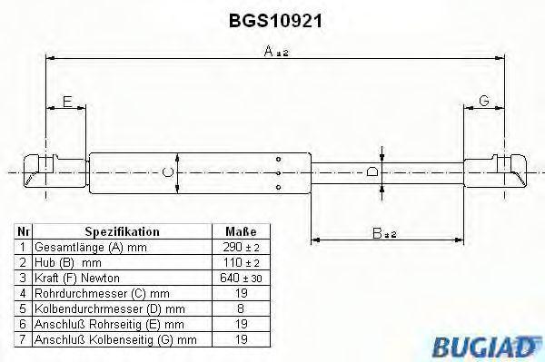 Pistoncini cofano BGS10921 BUGIAD — Solo ricambi nuovi