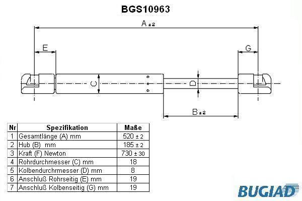 Stoßdämpfer Heckklappe BUGIAD BGS10963