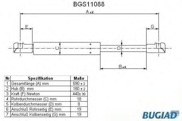 Gasdruckdämpfer Heckklappe BUGIAD BGS11088