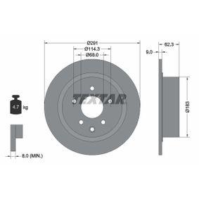 98200237101PRO TEXTAR PRO Voll, beschichtet, ohne Radnabe, ohne Radbefestigungsbolzen Ø: 291mm, Bremsscheibendicke: 9,0mm Bremsscheibe 92237103 günstig kaufen