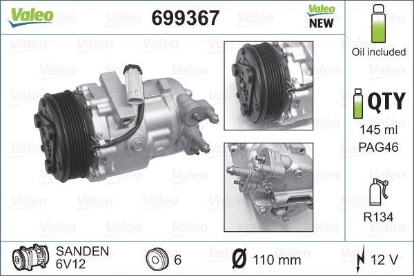 Opel Corsa C 1.3CDTI (F08, F68) 2007 reservdelar: AC Kompressor VALEO 699367