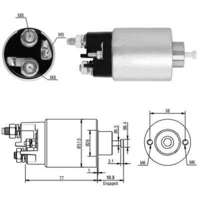 Original Starttimoottorin solenoidi 46014 Citroen