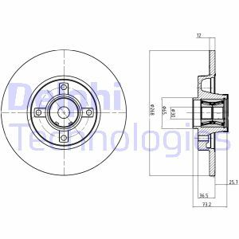 DELPHI Bremsscheibe BG9053RSC