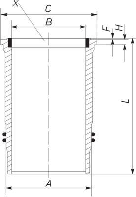MAHLE ORIGINAL Cylinderhylsa till DAF - artikelnummer: 213 LW 00100 001