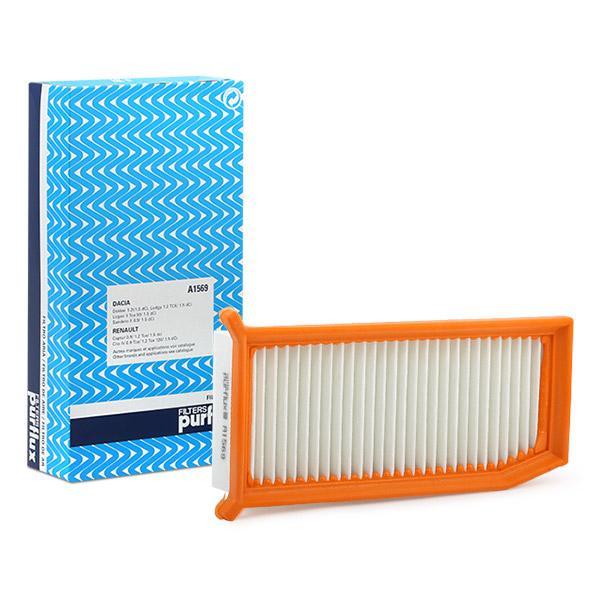 Origine Filtre à air PURFLUX A1569 (Longueur: 273mm, Longueur: 273mm, Largeur: 124mm, Hauteur: 64mm)