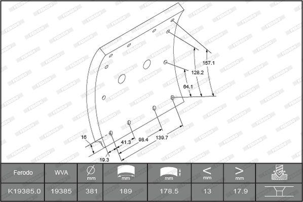 Bremsbelagsatz, Trommelbremse FERODO K19385.0-F3658 mit 15% Rabatt kaufen