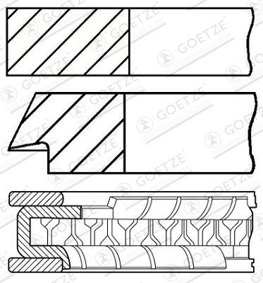 GOETZE ENGINE: Original Kolbenringe 08-433500-00 ()