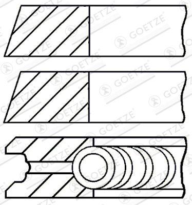 GOETZE ENGINE Zestaw pierscieni tłoka Śr. cyl.: 75,97[mm] 08-523700-00 KTM