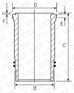 GOETZE ENGINE Cylinderhylsa till DAF - artikelnummer: 15-451230-00