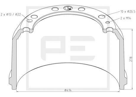 PETERS ENNEPETAL Bremstrommel für RENAULT TRUCKS - Artikelnummer: 256.025-00A