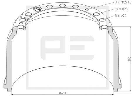 PETERS ENNEPETAL Bremstrommel für MAN - Artikelnummer: 036.403-00A