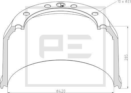 PETERS ENNEPETAL Bremstrommel für DAF - Artikelnummer: 046.424-00A