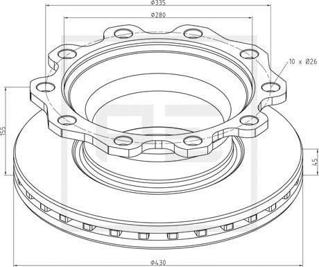 PETERS ENNEPETAL Bremsscheibe für DENNIS - Artikelnummer: 326.000-00A