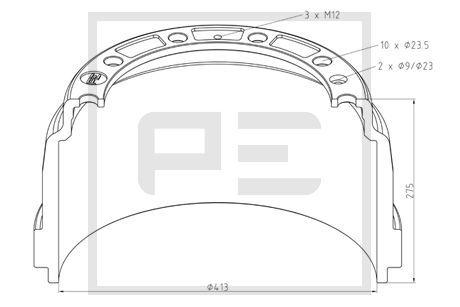 PETERS ENNEPETAL Bremstrommel für SCANIA - Artikelnummer: 126.089-00A