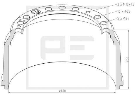 PETERS ENNEPETAL Bremstrommel für RENAULT TRUCKS - Artikelnummer: 016.498-00A