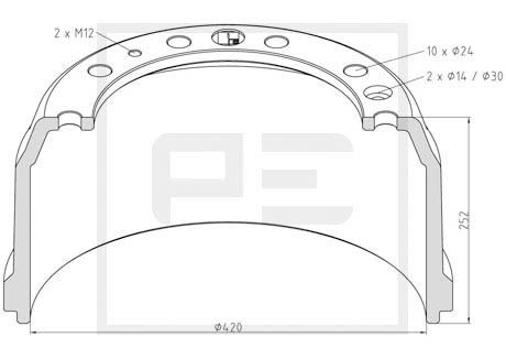 PETERS ENNEPETAL Bremstrommel für DAF - Artikelnummer: 106.084-00A