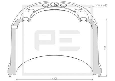 PETERS ENNEPETAL Bremstrommel für DAF - Artikelnummer: 046.646-00A
