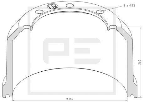 PETERS ENNEPETAL Bremstrommel für DAF - Artikelnummer: 066.441-00A