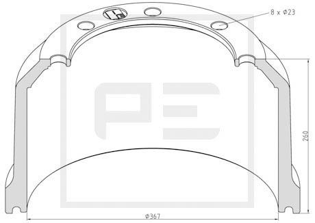 PETERS ENNEPETAL Bremstrommel für RENAULT TRUCKS - Artikelnummer: 066.441-00A