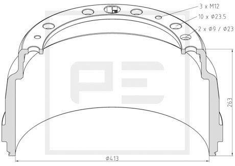 PETERS ENNEPETAL Bremstrommel für SCANIA - Artikelnummer: 126.091-00A