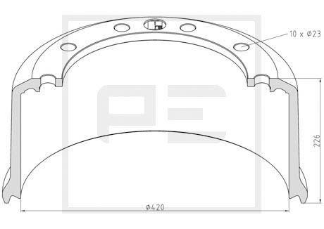 PETERS ENNEPETAL Bremstrommel für DAF - Artikelnummer: 046.698-00A