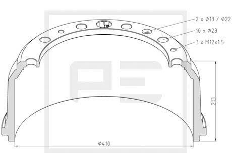 PETERS ENNEPETAL Bremstrommel für MAN - Artikelnummer: 036.404-00A
