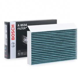 A8534 BOSCH Aktivkohlefilter, mit antiallergischer Wirkung, mit antibakterieller Wirkung, + Breite: 259mm, Höhe: 35mm, Länge: 151,5mm Filter, Innenraumluft 0 986 628 534 günstig kaufen