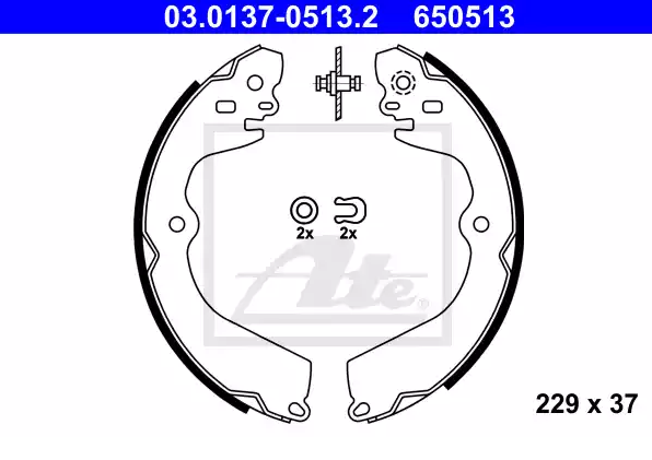 Drum brake shoe support pads 03.0137-0513.2 ATE — only new parts