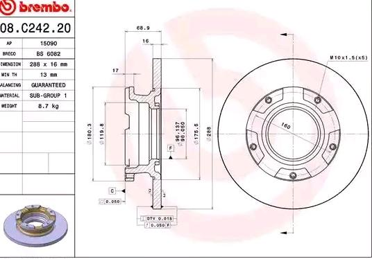 08C24220 Bremsscheiben BREMBO 08.C242.20 - Große Auswahl - stark reduziert