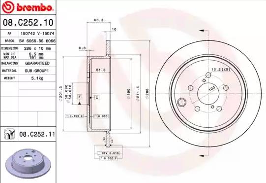 08C25211 Bremsscheiben BREMBO 08.C252.11 - Große Auswahl - stark reduziert