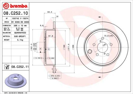 08.C252.11 Bremsscheibe BREMBO in Original Qualität