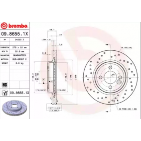 BREMBO 09.8655.1X Brake Disc Rotors