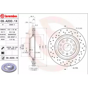 09A2001X Brake Disc BREMBO 09.A200.1X - Huge selection — heavily reduced