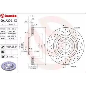 09A2001X Bromsskiva BREMBO 09.A200.1X Stor urvalssektion — enorma rabatter