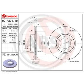 09.A204.11 A.B.S. Vented, Coated Ø: 338mm, Rim: 6-Hole, Brake Disc Thickness: 28mm Brake Disc 09.A204.11 cheap