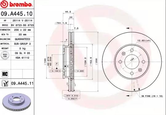 BREMBO   Disco freno 09.A445.11