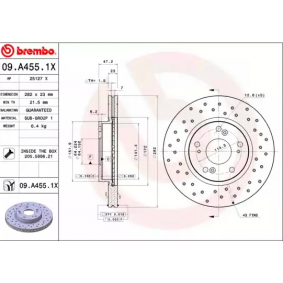 09A4551X Brake Disc BREMBO 09.A455.1X - Huge selection — heavily reduced