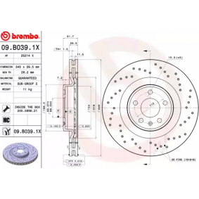 09B0391X Brake Disc BREMBO 09.B039.1X - Huge selection — heavily reduced