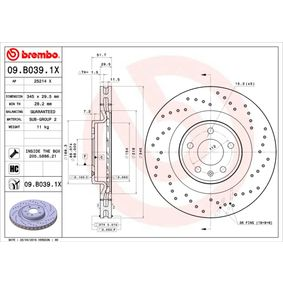 09.B039.1X Brake Disc BREMBO original quality
