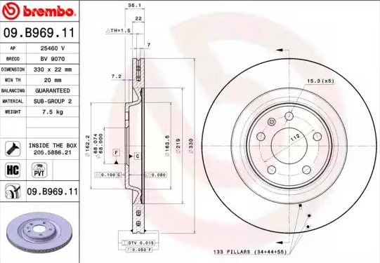 09B96911 Brake Discs BREMBO 09.B969.11 - Huge selection — heavily reduced