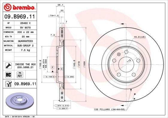 09.B969.11 Brake rotor BREMBO original quality
