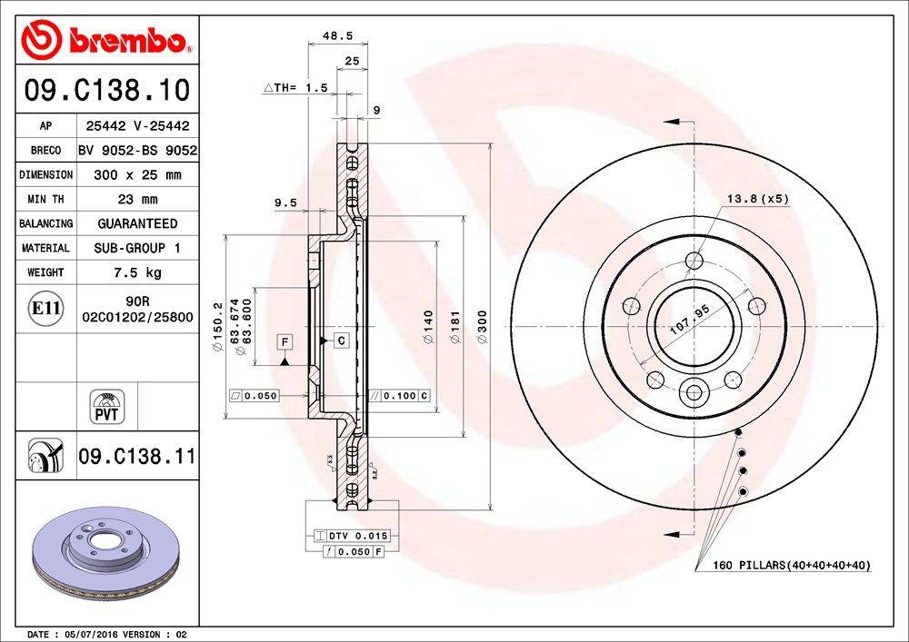 09.C138.11 Scheibenbremsen BREMBO - Markenprodukte billig
