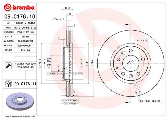 MAZDA CX-7 2006 Tuning - Original BREMBO 09.C176.11 Ø: 296mm, Lochanzahl: 5, Bremsscheibendicke: 28mm