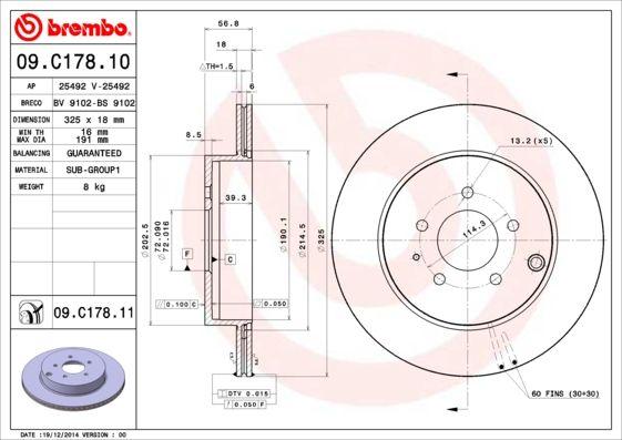 MAZDA CX-7 2014 Tuning - Original BREMBO 09.C178.11 Ø: 325mm, Lochanzahl: 5, Bremsscheibendicke: 18mm