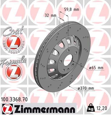 100.3368.70 Brake rotor ZIMMERMANN original quality
