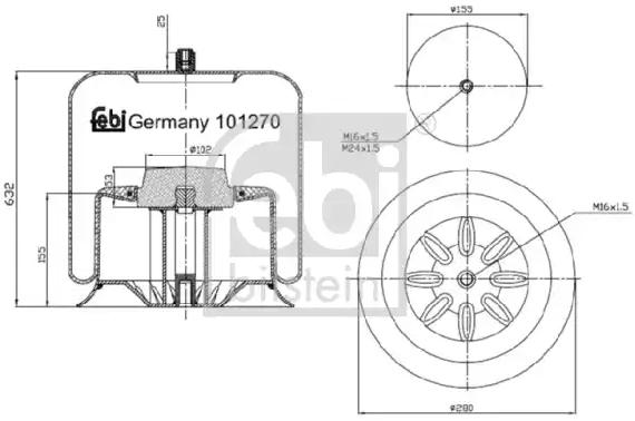 Original MERCEDES-BENZ Federbalg, Luftfederung 101270