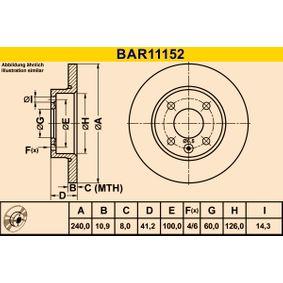 BAR11152 Barum Voll Ø: 240,0mm, Lochanzahl: 4, Bremsscheibendicke: 10,9mm Bremsscheibe BAR11152 günstig kaufen